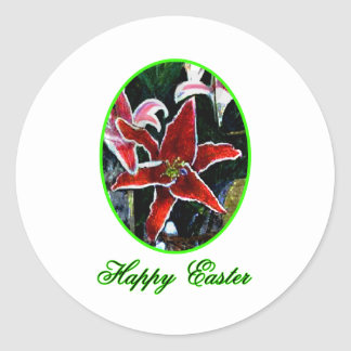 Happy Easter o Green Tiger Lily The MUSEUM Zazzle Stickers