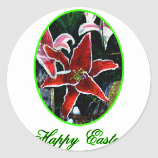 Happy Easter o Green Tiger Lily The MUSEUM Zazzle Round Stickers