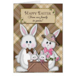 HAPPY EASTER - OUR FAMILY TO YOURS - BUNNIES GREETING CARD