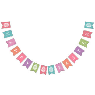 """Happy Easter"" party bunting banner"