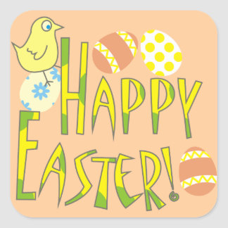 Happy Easter Pastel Chick and Eggs Stickers