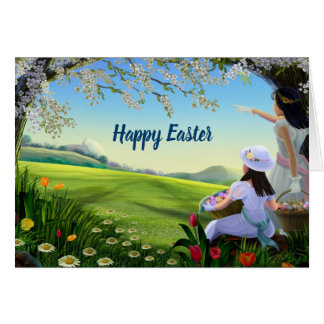 Happy Easter  People and landscape Card