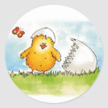 Happy Easter- Personalise with name - Chick just h Round Stickers