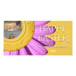 Happy Easter Photo | Daisy Spring Purple Yellow Custom Photo Card