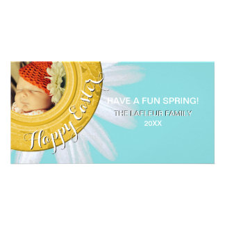 Happy Easter Photo | Floral Watercolor Daisy Aqua Photo Cards