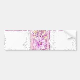 Happy Easter Pink Cross with Lilies Bumper Sticker