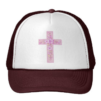 Happy Easter Pink Cross with Lilies Mesh Hats