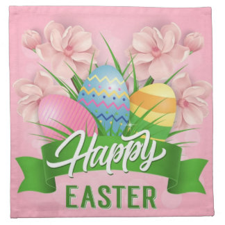 Happy Easter Pink Flowers And Eggs Napkin