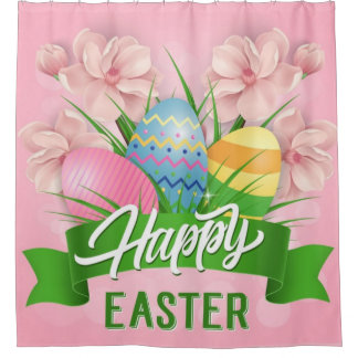 Happy Easter Pink Flowers And Eggs Shower Curtain