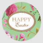 Happy Easter Pink Flowers Classic Round Sticker