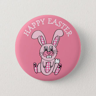Happy Easter Pink Gingham Bunny Rabbit Button