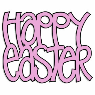 Happy Easter pink Sculpture Photo Cutouts