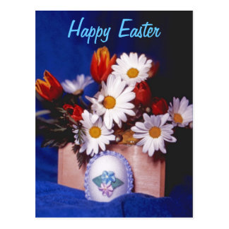 Happy Easter PostCard~Daisies & Tulips Postcard