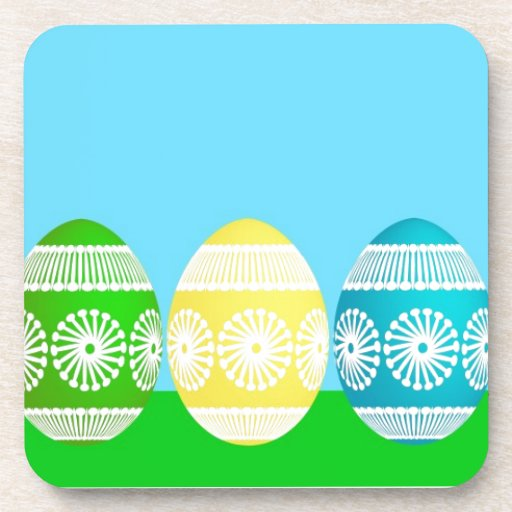 Happy Easter powder blue cute egg design Beverage Coasters