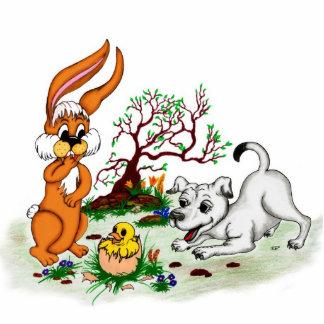 Happy Easter! Puppy, chicken, hare - sculpture Standing Photo Sculpture