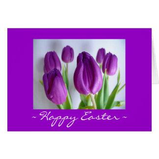 Happy Easter Purple Tulips Card
