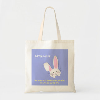 Happy easter! rabbit and phrase tote bag