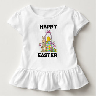 Happy Easter Rabbit Toddler Ruffle Tee
