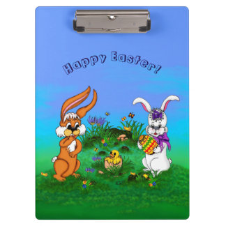 Happy Easter! Rabbit with Bunny and Chick Clipboard