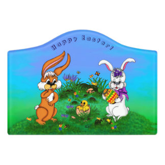 Happy Easter! Rabbit with Bunny and Chick Door Sign