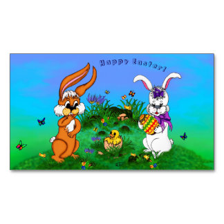 Happy Easter! Rabbit with Bunny and Chick Magnetic Business Cards