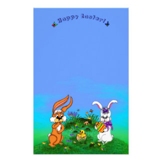 Happy Easter! Rabbit with Bunny and Chick Stationery
