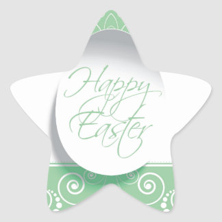 Happy Easter Ribbon (Green) Star Sticker