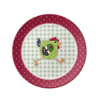 Happy Easter. Rooster Country Design Gift Plates Porcelain Plates