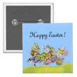 Happy Easter Running Pastel Rabbits 15 Cm Square Badge