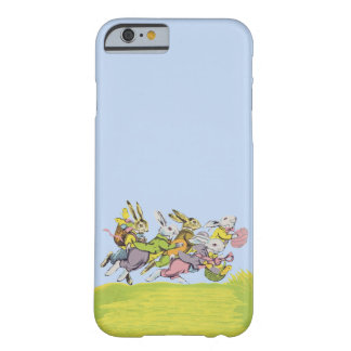 Happy Easter Running Pastel Rabbits Barely There iPhone 6 Case