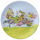 Happy Easter Running Pastel Rabbits Plate
