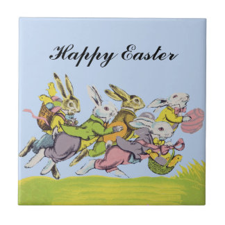 Happy Easter Running Pastel Rabbits Tile
