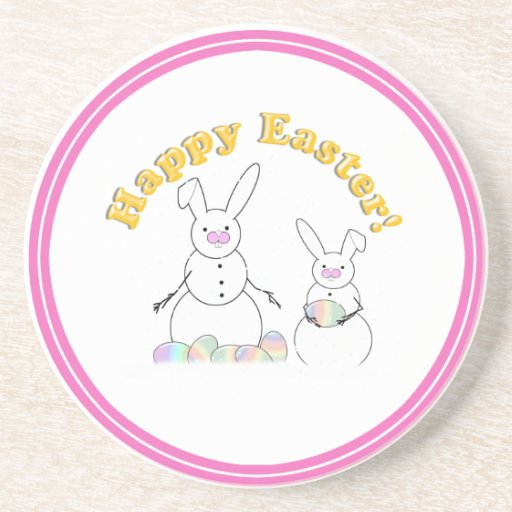 Happy Easter Snow Bunnies (Yellow Text) Beverage Coasters