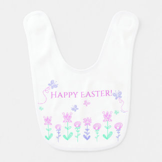 Happy Easter Spring Garden Baby Bib