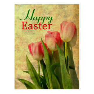 Happy Easter Spring Tulips Postcards