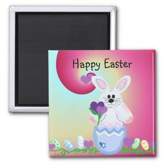 Happy Easter Square Magnet