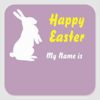 Happy Easter Square Name Tag