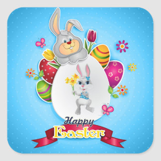 Happy Easter Square Sticker