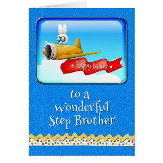 Happy Easter Step Brother Bunny in Plane Greeting Card