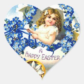 HAPPY EASTER STICKER - VINTAGE CHILD W VIOLETS HEART STICKER