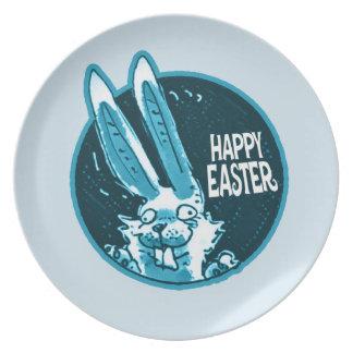 happy easter sweet bunny cartoon plate