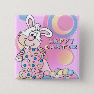 Happy Easter Sweet Bunny Girl with Eggs 15 Cm Square Badge