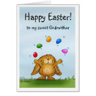 Happy Easter sweet Godmother -Cute Bunny juggling Card