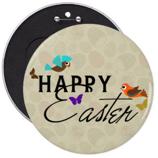 Happy Easter Text Design With Butterflies & Birds 6 Cm Round Badge