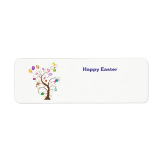 Happy easter tree with decorative eggs return address label
