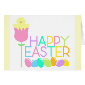 Happy Easter Tulip Chicks Note Card
