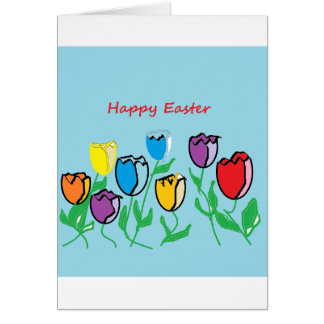 Happy Easter Tulips Greeting Card