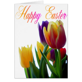 Happy Easter Tulips Greeting Cards