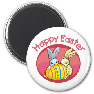 Happy Easter Two Bunnies - Pink Magnet