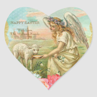 Happy easter lamb gifts t shirts art posters other gift happy easter typography vintage angel lamb heart sticker negle Images
